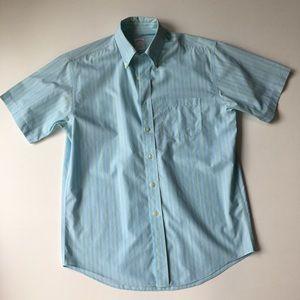 Brooks Brothers M Blue Striped Short Sleeve Shirt